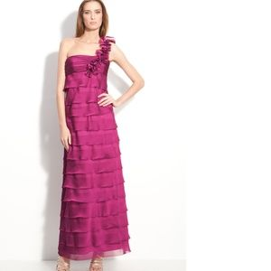 Tiered One Shoulder Cationic Chiffon Gown